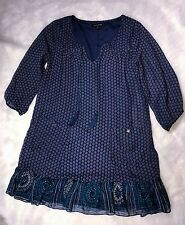 As U Wish Boho Navy Blue Printed Sheer Lined Shift Dress Ruffles SZ S
