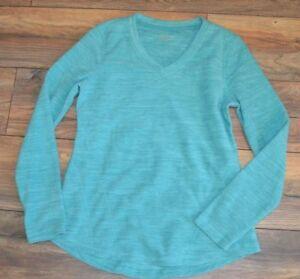 Tek Gear Performance Fleece V Neck Top Green Super Soft & Warm Petite Small