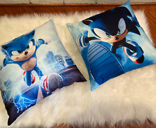 """2 Sonic The Hedgehog Throw Pillow Covers 18"""" Double Sided Fast Shipping Usa"""