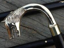 Victorian Wooden Walking Cane Designer Wolf Head Brass Handle Shaft Stick Gift