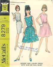 Vintage 1966 McCall's 8279 Sewing Pattern Misses Junior Dress Slim Or Full Skirt