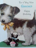 1960s Vtg TERRIER PUPPY Norcross GODCHILD Embossed Happy BIRTHDAY GREETING CARD