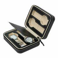 4 Grids Watch Box PU Leather Display Case Organizer Top Glass Jewelry Storage