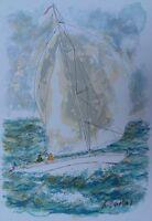 Huchet Urban : Der Segelboot Bretonisch - Lithografie Originell Signiert #450ex