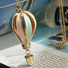 Womens Colorful Fire Balloon Necklace Hot Air Balloon Pendant Chain