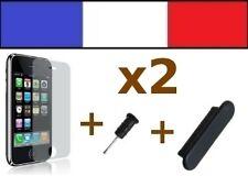 2 LOT NOIR anti-poussière + 2 FILM DE PROTECTION D'ECRAN iphone bouchon 3G 3Gs