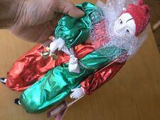 "Vintage Schmid Harlequin Holiday Doll Porcelain Bisque Head Hands Legs 17"" Box"