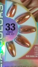 L.A. COLORS PIXIE GLIMMERY GLUE ON NAILS 30 LONG COFFIN TIP *RIVETING*