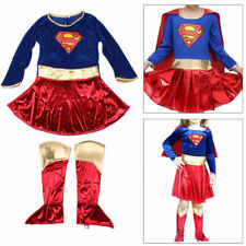 Kids Girls Supergirl Costume Superhero Fancy Dress Party Outfit Cover Cosplay UK