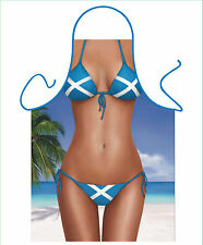 MENS,WOMENS, NOVELTY APRON,SCOTTISH GIRL WEARING FLAG BIKINI