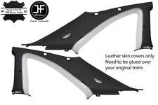 BLACK & WHITE 2X B C PILLAR LEATHER COVER FITS NISSAN SKYLINE GTS GTR R33 93-98