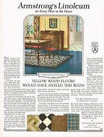 1920s BIG Vintage Armstrong's Linoleum Flooring Period Interior Art Print Ad c