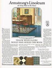 1920's BIG Vintage Armstrong's Linoleum Flooring Period Interior Art Print Ad c
