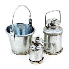 Miniatura Para Casa De Muñecas Cubo De Metal Con Dos Tallas De La Leche Urns