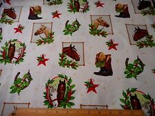 Christmas Fabric By The Yard Western Horses Boots Cowboy Hat Kaufman Cotton Bolt
