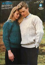 """Patons Aran Knitting Pattern Jumper Sweater Women/men 3913 Size 32/46"""""""