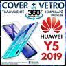 CUSTODIA COVER TPU TRASPARENTE + PELLICOLA VETRO TEMPERATO Per HUAWEI Y5 2019