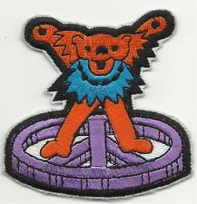 GRATEFUL DEAD dancing bear/orange/lilac SHAPED - EMBROIDERED - IRON/SEW ON PATCH