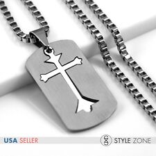in 1 Pendant Square Box Necklace 12M Men's Stainless Steel Cross Matte Dog Tag 2