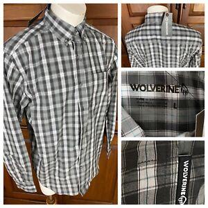 NEW Men's Wolverine L/S Button Down Cotton Shirt Gray Grey Plaid Size Large