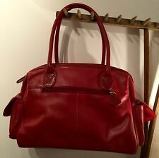 "NEW & STORED  'TOMMY & KATE' RED LEATHER HAND BAG 13"" X 10"" X 5"""