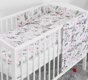BABY 5PC BEDDING SET PILLOW DUVET BUMPER FIT COTBED 140x70cm Garden Flowers