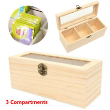 3 Compartment Wooden Tea Box Antique Chest Tin Caddy Glass Lid Storage Container
