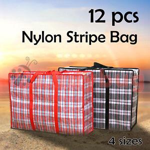 12 Nylon Stripe Bag Packing Storage Strip Shopping Zip House Moving Travel Check