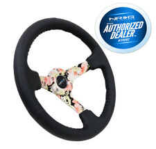 "NRG Steering Wheel 350mm Black Leather Hydro Dipped Digital Floral 3"" Deep Dish"