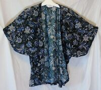 Girls M&Co Black Blue Floral Sheer Batwing Cardigan Open Jacket Age 9-10 Years