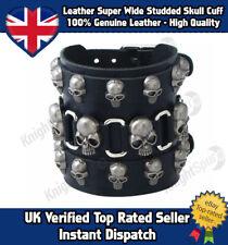 Genuine Leather Extra Wide Skull Stud Cuff Bracelet Goth Punk Rocker Surf Unisex