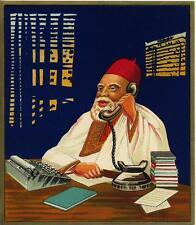 ORIGINAL VINTAGE FABRIC BALE LABEL - BUSINESS MAN - FEZ HAT