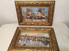 Pair Of Vintage European Impressionist Cityscape Paintings Signed Mori