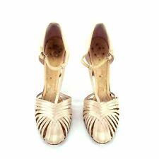 Rare Period Vintage 1920s 1930s Satin Multi Strap T-Strap Evening Shoes