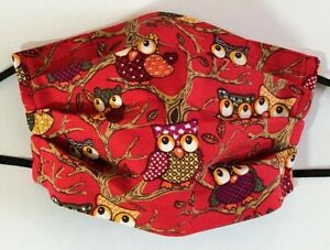 Face Mask Free PM2.5 Filter (Owl Red bkg) Double Layered 100% Cotton Washable