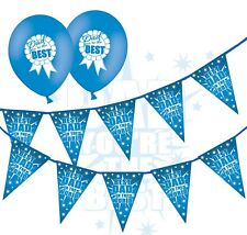 "Fathers Day - Bunting Best Dad in the world & 12"" Latex Blue Balloons pack of 5"