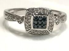 NEW Blue & White DIAMOND Ring Sterling Silver 925 Sz 6.5Engagement Wedding Bride