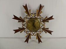 More details for vintage midcentury sunburst teak and metal paico wall clock f22