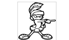 Marvin The Martian Pointing 6 X 6 Vinyl Car Truck Window Decal Stickers