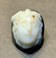 ANCIENT ROMAN AGATE CAMEO OF MEDUSA! 2nd - 3rd CENTURY A.D. - CHARMING!
