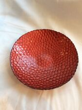 A PATTERNED DISPLAY GLASS DISH / VASE WITH A RED FINISH #MW