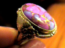Silver RING 7  PURPLE TURQUOISE long bold elegant sterling 925  INDIAN DELICATE