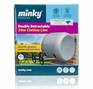 30m Minky Retractable Clothes Drying Airing Outdoor Reel Double Washing Line