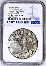 2018 P Tuvalu Warfare - Vikings ANTIQUED 2Oz Silver $2 3D COIN NGC PF70 ER
