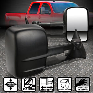 FOR 88-02 CHEVY GMC C/K 1500 2500 3500 MANUAL REAR VIEW SIDE TOWING MIRROR BLACK