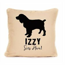 Cocker Spaniel Sits Here Personalised Gift For Dog Cushion With Pad Included