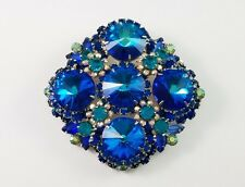 VINTAGE D&E JULIANA LARGE BLUE RIVOLI SILVER-TONE BROOCH BOOK PIECE