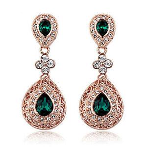 Gold Emerald Green Ladies Earrings Vintage Design Drop Dangle Fashion Jewellery