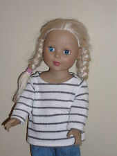 """White/Black Stripe Knit Sweater for 18"""" Doll Clothes American Girl"""