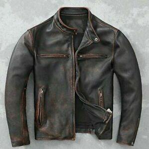Men's Motorcycle Biker Vintage Cafe Racer Distressed Black Real Leather Jacket -